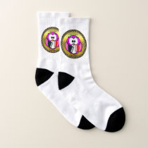 Pink and white owl holding school books gold socks