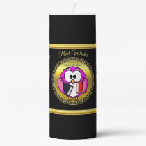 Pink and white owl holding school books to read pillar candle