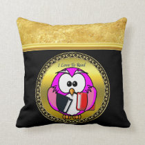 Pink and white owl holding school books to read throw pillow