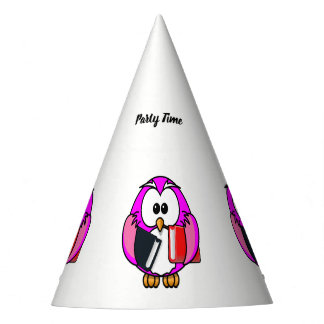 Pink and white owl holding some school books party hat