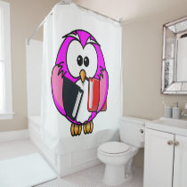 Pink and white owl holding some school books shower curtain