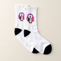 Pink and white owl holding some school books socks