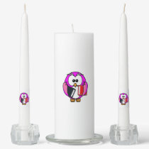 Pink and white owl holding some school books unity candle set