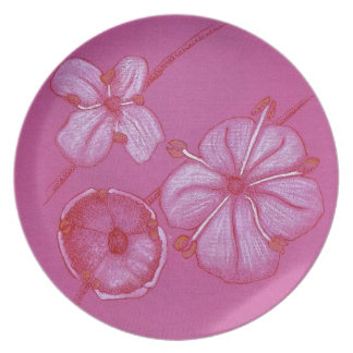 Pink and White Painted Flower Study Dinner Plate