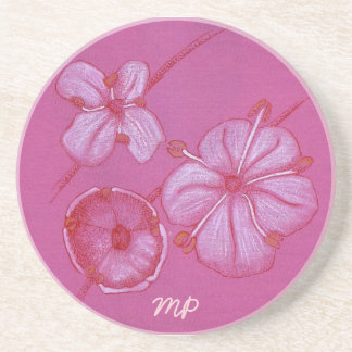 Pink and White Painted Flower Study Sandstone Coaster