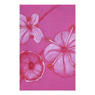 Pink and White Painted Flower Study Stationery