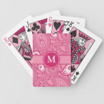 Pink and White Paisley Bicycle Playing Cards
