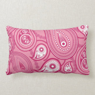 Pink and White Paisley Throw Pillows