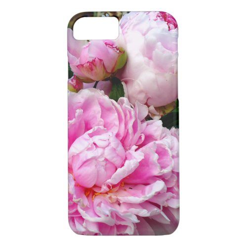 Pink and White Peonies - classic cottage charm Phone Case
