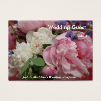 Pink and White Peonies Reception Table cards