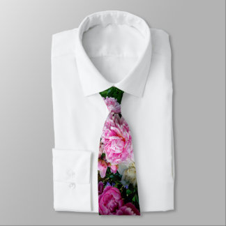 Pink and White Peonies Tie