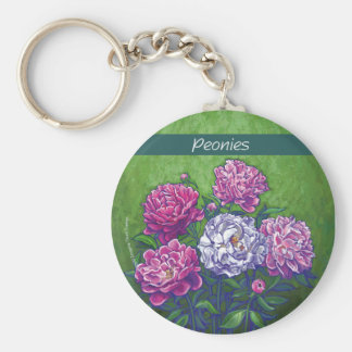 PInk and White Peony Flowers Keychain
