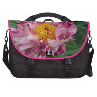 Pink and white peony laptop bag