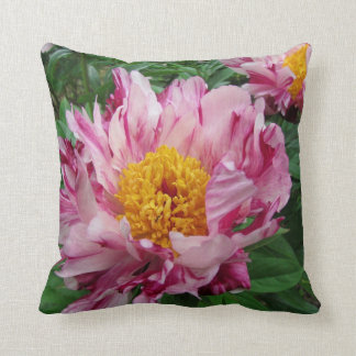 Pink and white peony pillow