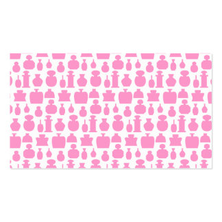 Pink and White Perfume Bottle Pattern. Business Card
