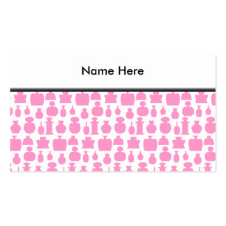 Pink and White Perfume Bottle Pattern. Business Card Template