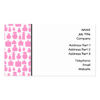 Pink and White Perfume Bottle Pattern. Business Card Templates