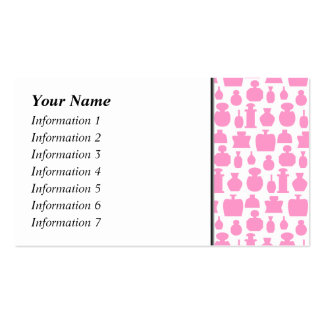 Pink and White Perfume Bottle Pattern. Business Cards
