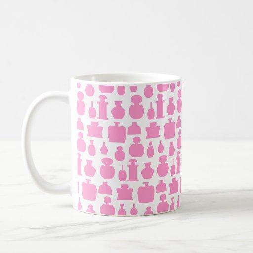 Pink and White Perfume Bottle Pattern. Coffee Mug