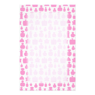 Pink and White Perfume Bottle Pattern. Personalized Stationery