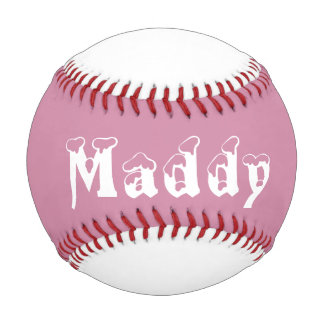 Pink and white personalized girl baseball