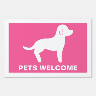 Pink And White Pets Welcome Lawn Signs