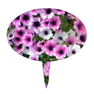 Pink and white petunia flowers cake toppers