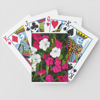 Pink and White Petunia Flowers Playing Cards