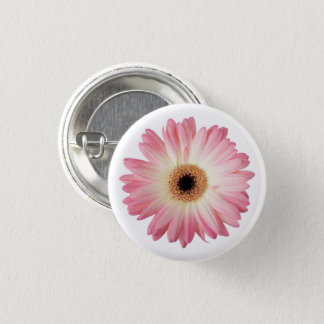Pink and White Photographic Gerbera Daisy Flower Pinback Button
