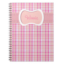 Pink and White plaid pattern Notebook