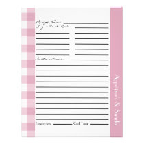Pink and White Plaid Recipe Sheets Flyer