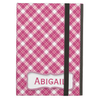 Pink and White Plaid with Nameplate iPad Air Covers