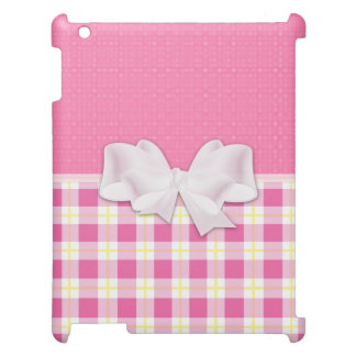 Pink and White Plaid with White Bow design iPad Cover