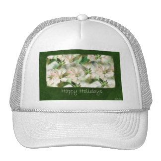 Pink and White Poinsettias 1 Painterly - Happy Trucker Hat