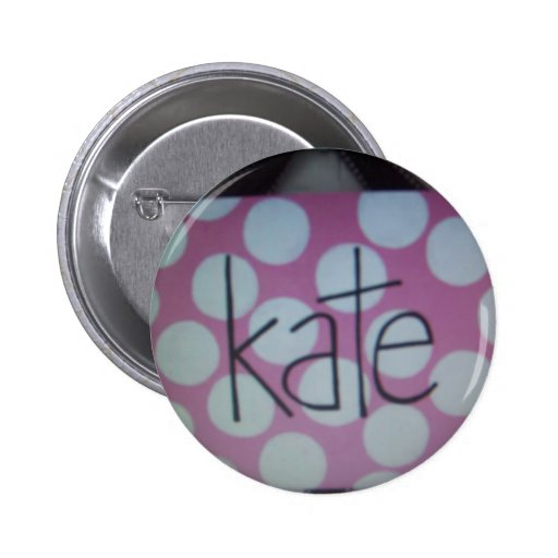 pink and white polk a dot sign pinback button