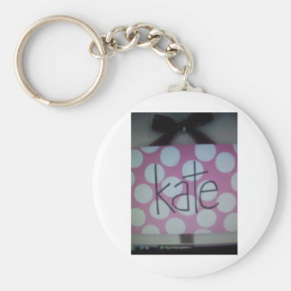 pink and white polk a dot sign keychains