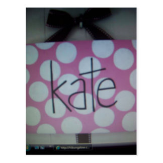 pink and white polk a dot sign postcard