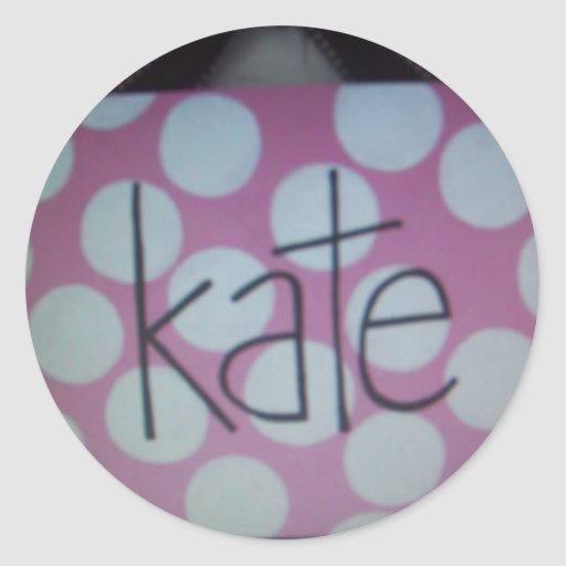 pink and white polk a dot sign round sticker