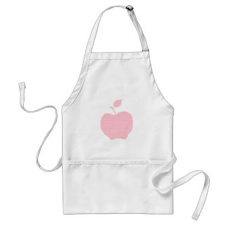 Pink and White Polka Dot Apple Adult Apron