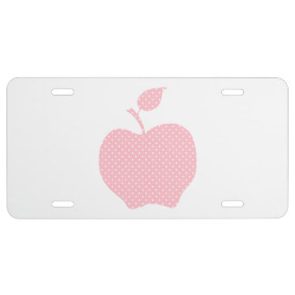 Pink and White Polka Dot Apple License Plate
