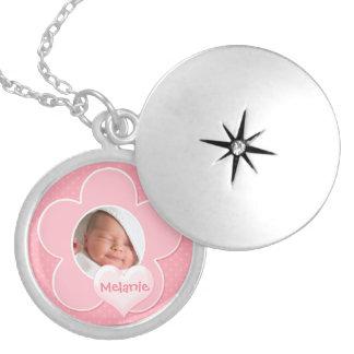 Pink and white Polka Dot Baby Photo Locket