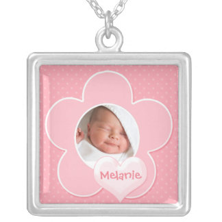 Pink and white Polka Dot Baby Photo Necklace