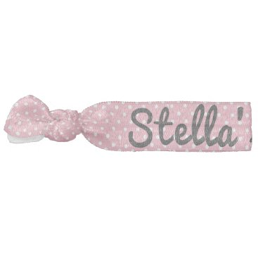 Pink and White Polka Dot Business Name Hair Tie