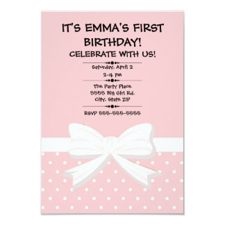 Pink and White Polka Dot Child's First Birthday Card