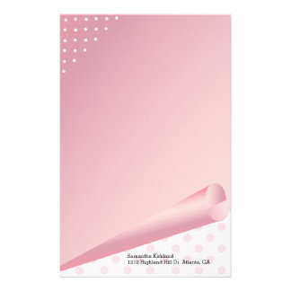 Pink and White Polka Dot Custom Stationery