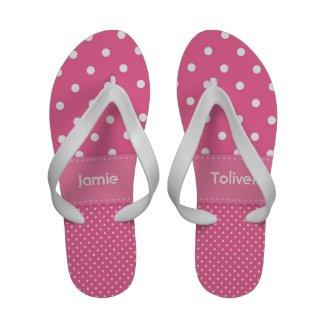 Pink and White Polka Dot Flip Flops