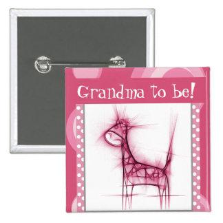 Pink and White Polka Dot Giraffe Pinback Button