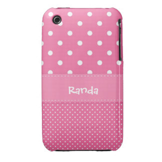 Pink and White Polka Dot iPhone 3 Case