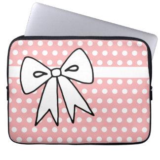 Pink and White Polka Dot Laptop Case Laptop Sleeve