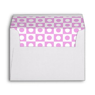 Pink and White Polka Dot Lined Envelope envelope